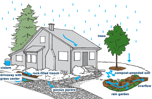 Some examples of storm water mitigation techniques.