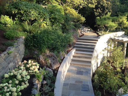 Stone stairs mortared over old steps