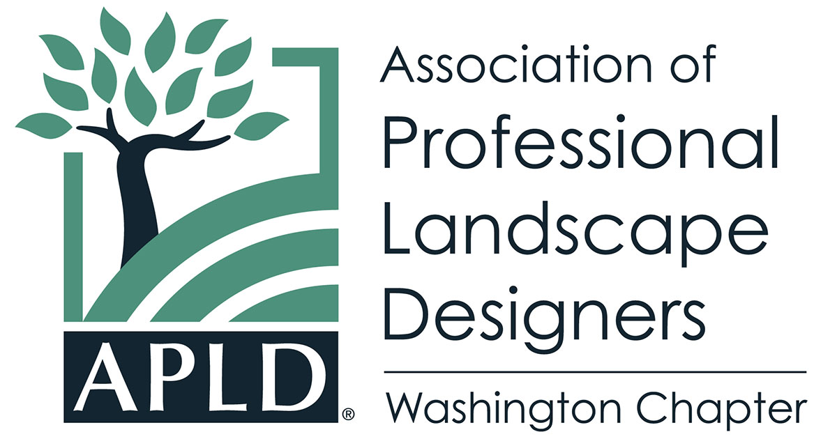 APLDWA logo graphic of tree on hill and words Association of Professional Landscape Designers Washington Chapter