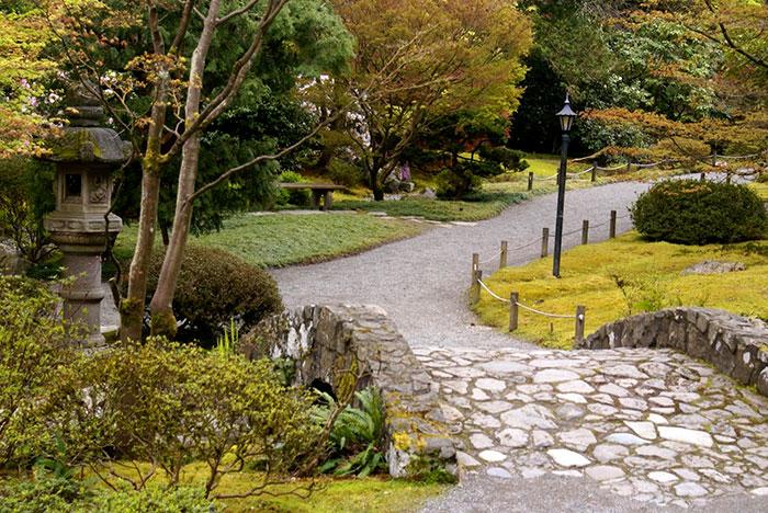stone bridge with landscaped path