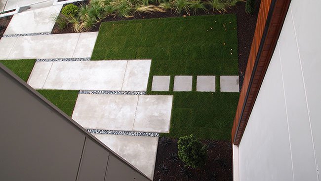 Interlocking hardscape with softscape to create balance.