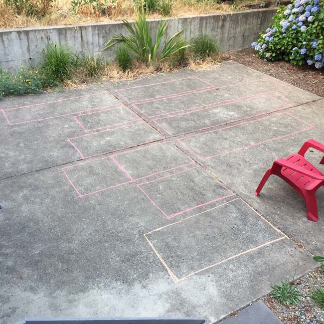 Repurposing old concrete patio for cost savings & environmental benefits of keeping materials onsite. Design & photo: Firecracker, Homeowner installation